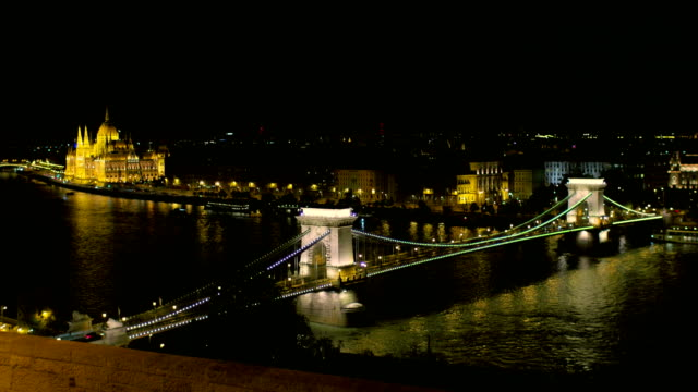 Night Budapest View with Famous Chain Bridge with Hungarian Parlament Building