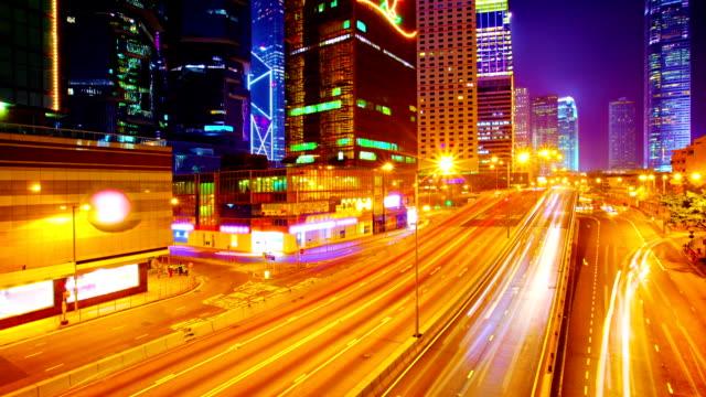 Nacht Stadt Lichter und Verkehr