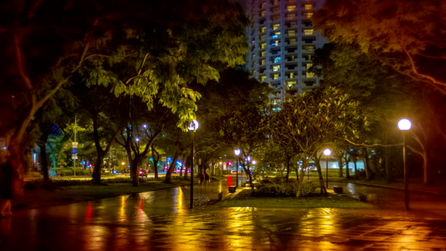 Night city park.