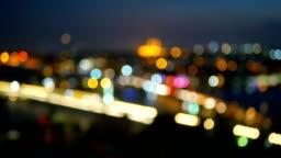 Night city river blurred