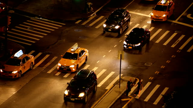night city traffic - taxi stock videos & royalty-free footage