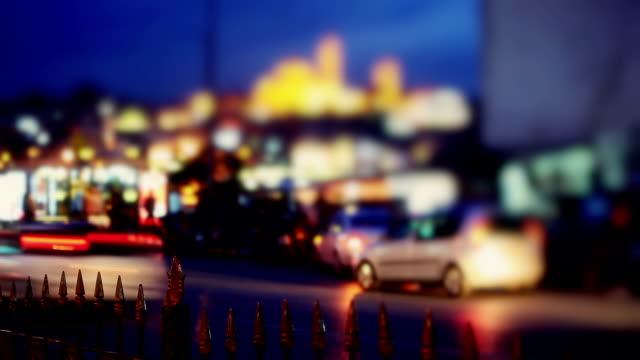 hd: night city traffic - yeni cami mosque stock videos & royalty-free footage