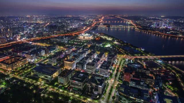 night cityscape around national assembly building and han river / yeouido, seoul, south korea - wide stock videos & royalty-free footage
