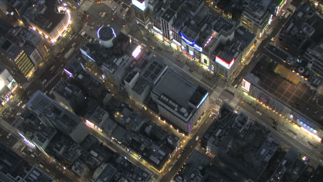 AERIAL night cityscape at Tokyo Japan