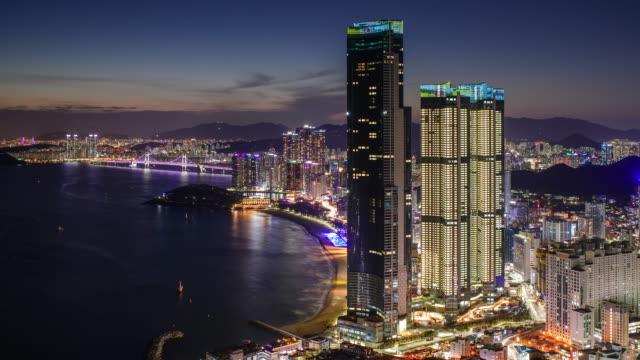 night cityscape of 'haeundae lct the sharp' (skyscraper with a height of 411 meters) / haeundae-gu, busan, south korea - korea stock videos & royalty-free footage