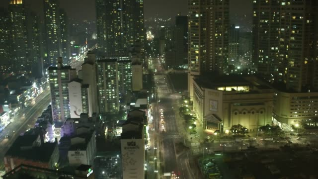 night cityscape of mok-dong in yangcheon-gu district, seoul - mok stock videos and b-roll footage