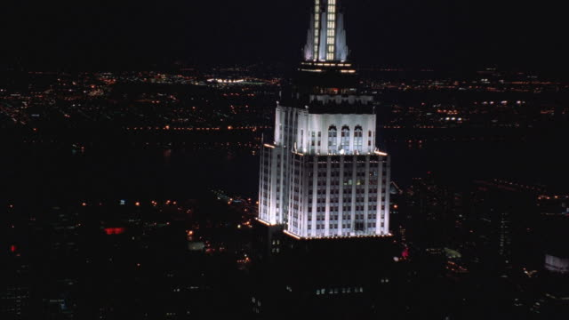 aerial ws zi zo cu night cityscape with empire state building prominent / manhattan, new york, usa - 1994 stock videos and b-roll footage