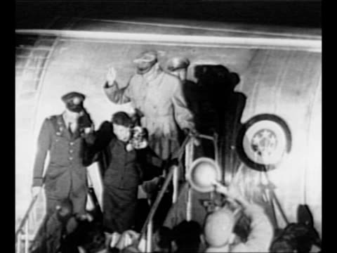 crowd waves at airfield as douglas macarthur returns from asia having been relieved of command / jean macarthur waves as she and general douglas... - general macarthur stock videos & royalty-free footage