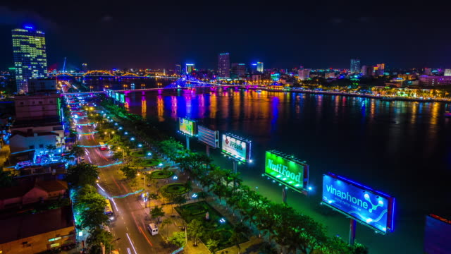 night danang, central vietnam, asia - ダナン点の映像素材/bロール