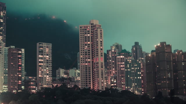 Night descends upon the skyline of Hong Kong.