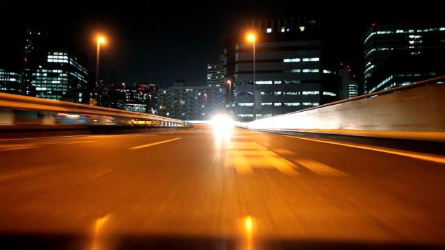 Nacht fahren in Tokio, Rückansicht, timelapse