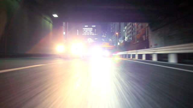 Night driving in Tokyo ,Rear View,timelapse