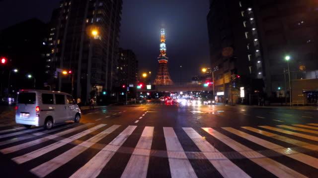 Nacht rijden in Tokyo - Tokyo Tower -4 K-