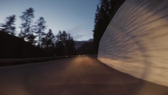 pov night driving on the dolomites - val di fassa stock videos and b-roll footage