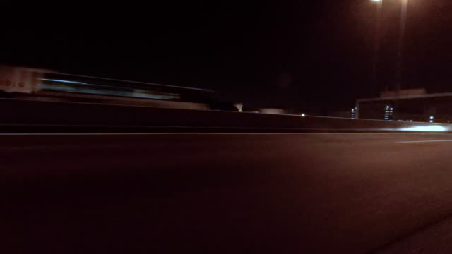 Night driving  - side view -4K-