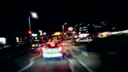HD Night Driving time-lapse loop. City to Country