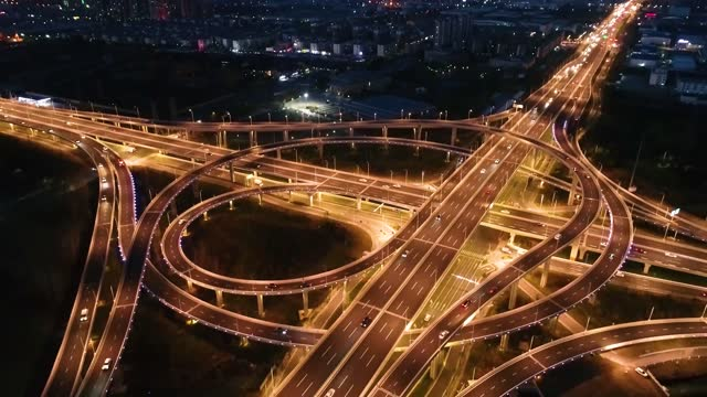 night drone aerial video of jinghuisi inner ring viaduct in huai 'an city, east china's jiangsu province. footage by: costfoto / barcroft studios via... - china east asia stock videos & royalty-free footage