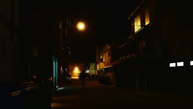 night exterior alley in venice beach - gasse stock-videos und b-roll-filmmaterial