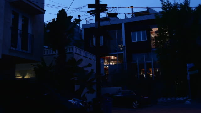 night exterior beach apartments - venice california stock videos & royalty-free footage