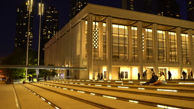 Night Exterior - Lincoln Center Plaza, Columbus Avenue, Manhattan NYC