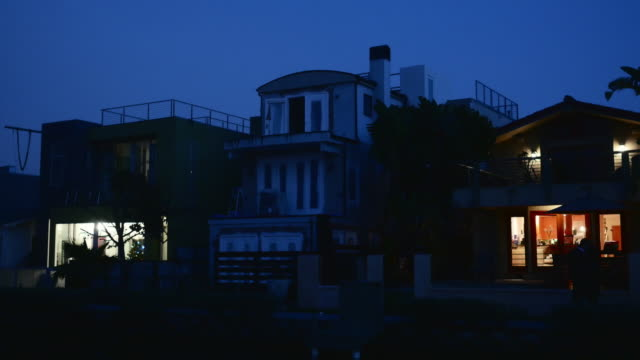 night exterior venice beach houses on the canals - venice beach stock videos and b-roll footage