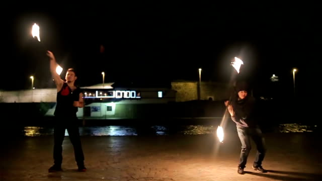 night fire show - pyrotechnic effects stock videos & royalty-free footage