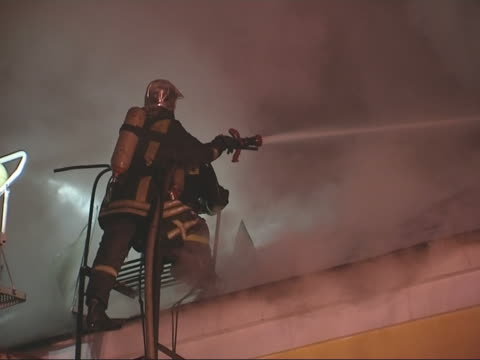night fire - firefighter stock videos and b-roll footage