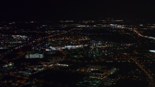 stockvideo's en b-roll-footage met 2011 - night flight above gaithersburg, maryland, moving north from interstate 270 towards frederick road/route 355, south of shady grove road. - artbeats