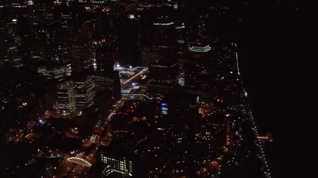 night flight along  hudson river toward ground zero. shot in 2005. - artbeats stock videos & royalty-free footage