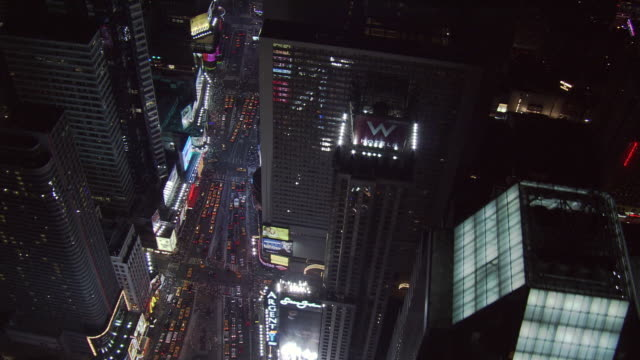 night flight down broadway toward times square. shot in 2005. - 2005 stock videos and b-roll footage