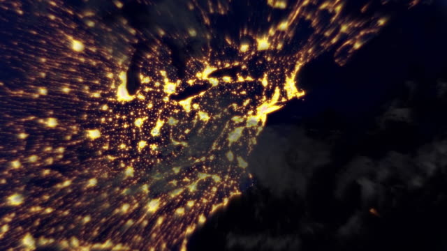 night flight from new york to orbit the earth. loopable. - spinning stock videos & royalty-free footage