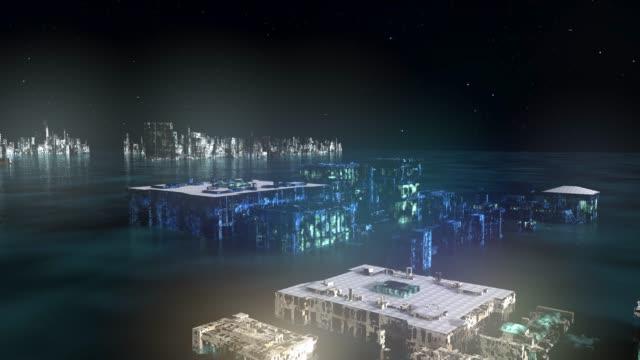 night flight over dystopian futuristc city - teal stock videos & royalty-free footage