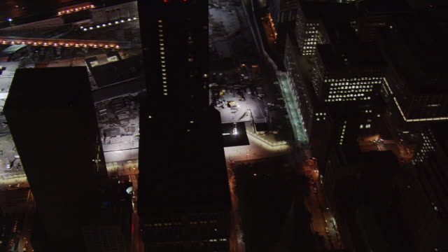 night flight over ground zero. shot in 2005. - september 11 2001 attacks stock videos and b-roll footage