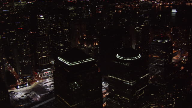night flight past ground zero to lower manhattan. shot in 2005. - artbeats stock videos & royalty-free footage