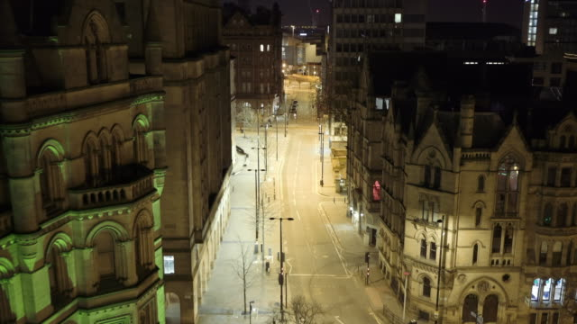 Night footage Manchester Albert Square