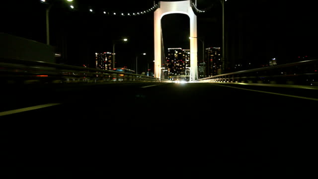 Night highway at Tokyo ,Rear View (timelapse)
