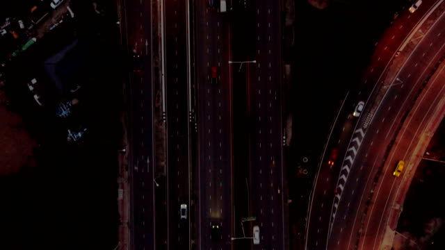 night highway traffic in bangkok, thailand, aerial top view, overhead shot - urban road stock videos & royalty-free footage