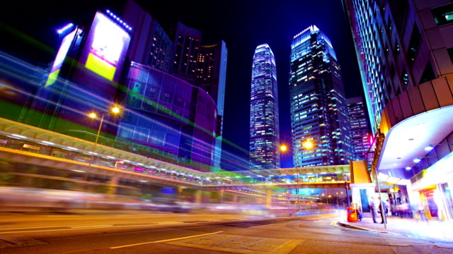night hong kong. - blurred motion stock videos & royalty-free footage