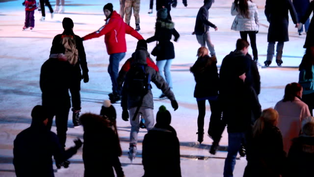 night ice skating - ice rink stock videos and b-roll footage
