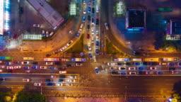 night illuminated shenzhen traffic street crossroad aerial timelapse 4k china