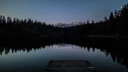 Night Lake Stars Moon Mountains Timelapse 4k