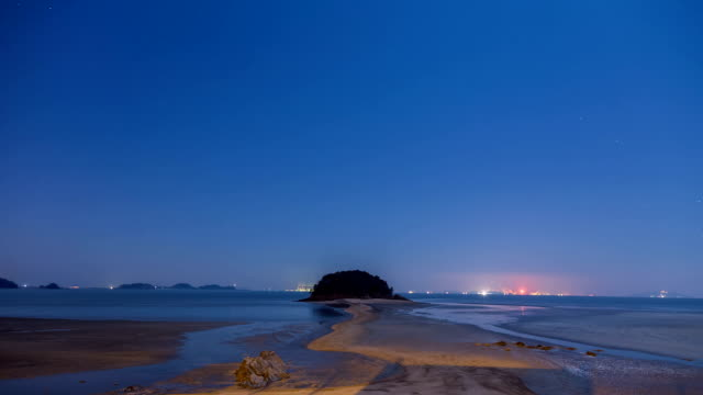 Night Landscape of Mokseom(Natural Landmark) in Seonjaedo island at High tide