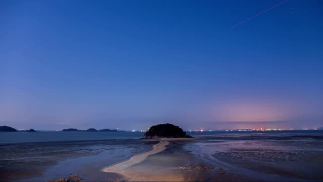 night landscape of mokseom(natural landmark) in seonjaedo island - natural landmark stock videos & royalty-free footage