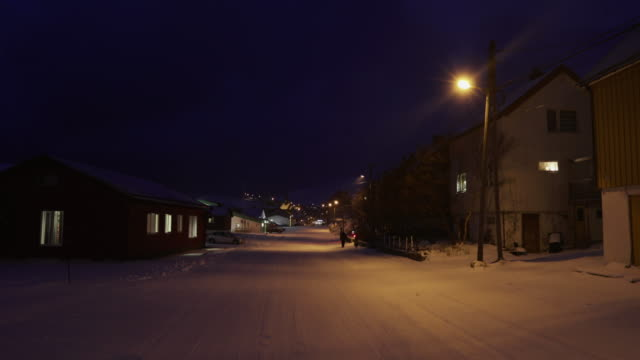 night life in the town of havoysund norway - dark stock videos & royalty-free footage