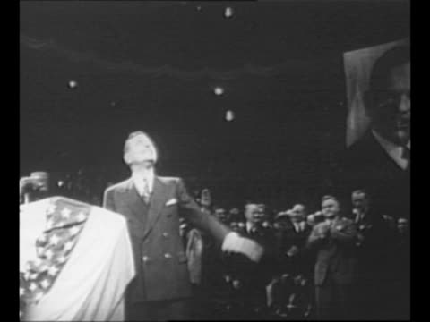 madison square garden marquee touts dewey/warren victory rally on election night 1948 / gop presidential nominee gov thomas e dewey and his wife... - uncle sam stock videos & royalty-free footage