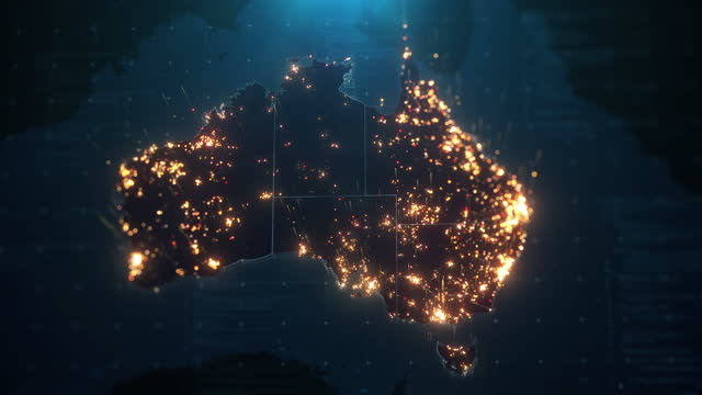 night map of australia with city lights illumination - copy space stock videos & royalty-free footage