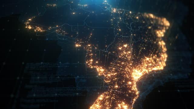 vídeos de stock, filmes e b-roll de mapa noturno do brasil com iluminação de luzes da cidade - image