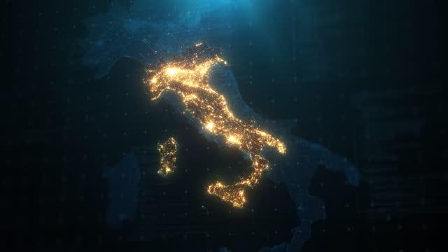 mappa notturna d'italia con illuminazione luci città - comunicazione globale video stock e b–roll