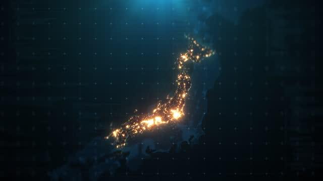 vídeos de stock, filmes e b-roll de mapa noturno do japão com iluminação de luzes da cidade - japão