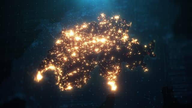 night map of switzerland with city lights illumination - switzerland stock videos & royalty-free footage